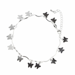 anklet silver with tiny butterfly charms 8 to 10 inches
