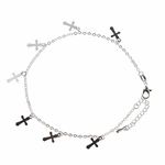 anklet silver with tiny cross charms 8.5 to 10 inches