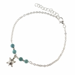 anklet silver with turquoise beads and antique silver turtle charm 9 to 10.75 inches