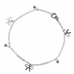 anklet stainless steel with tiny bow and ball charms 10 inches