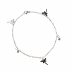 anklet stainless steel with tiny dragonfly charms 9.5 inches