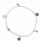 anklet stainless steel with tiny flower charms 9.5 inches
