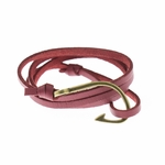 Bracelet antique brass fish hook dark red faux suede wrap