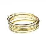 Bracelet gold 12 thin wire bangle set