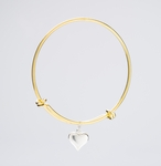 bracelet gold adjustable silver puff heart charm