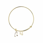 bracelet gold adjustable with pearls and music note charm