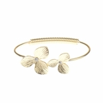 Bracelet gold bangle double flower with crystal accents