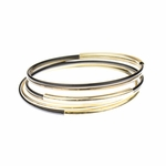 Bracelet gold black 6 bangle set