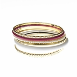 Bracelet gold pink white pearl 6 bangle set