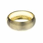 Bracelet gold ribbed hinged bangle