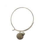 bracelet gold round charm with gold tree