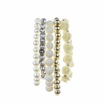 bracelet set 5 piece stretch crystal cream bead pearl bead cream rose bead gold bead