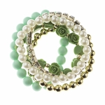 bracelet set 5 piece stretch crystal mint bead pearl bead green rose bead gold bead