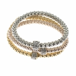 bracelet set silver gold copper with crystal circle charms