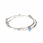 Bracelet silver 2 bangle set starfish crystal and turquoise accents