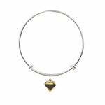 bracelet silver adjustable gold puff heart charm