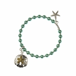 Bracelet silver aqua beaded 2tone sand dollar and silver starfish charm