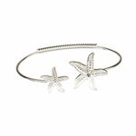Bracelet silver bangle double starfish with crystal accents