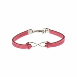 Bracelet silver coral faux suede silver infinity