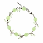 bracelet silver light green cats eye beads 7 inch plus 3-1 inch extender