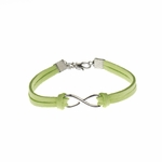Bracelet silver lime faux suede silver infinity