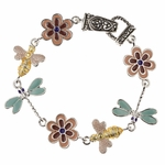 bracelet silver magnetic clasp dragonfly bee flower