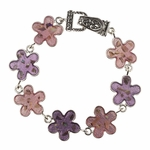 bracelet silver magnetic clasp pink flowers Abalone flecks