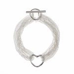 Bracelet silver multi chain heart with toggle clasp