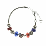 Bracelet silver Patriotic removable beads
