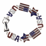 bracelet silver red white blue flag USA star magnetic clasp