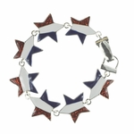 bracelet silver red white blue star magnetic clasp