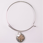 bracelet silver round charm with gold tree