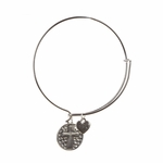 bracelet silver round charm with silver cross