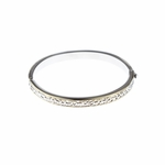 Bracelet silver tone bangle with gold accents fits up to
