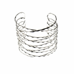 Bracelet silver wide hammered lined cuff