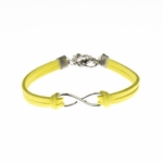 Bracelet silver yellow faux suede silver infinity