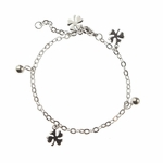 bracelet stainless steel tiny clover and ball charms