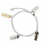 bracelet stainless steel with gold and silver fishbones