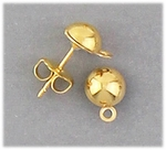 Components 1 pair gold 6mm posted half ball with loop