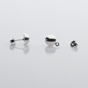 Components 1 pair silver posted 8mm half ball with loop