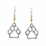 Earring French hook two tone silver cut out paw print