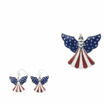 Earring Set silver red white blue angel magnetic pendant French hook earring