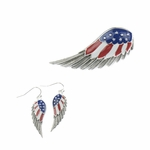 Earring Set silver red white blue angel wing magnetic pendant French hook earring