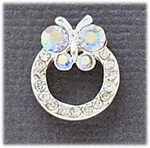 Earring Silver Aurora Borealis butterfly Crystal Circle