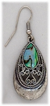 Earring silver French hook antique silver and shell teardrop