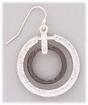 Earring silver French hook black and silver rings
