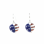 Earring Silver French Hook Red White and Blue Heart