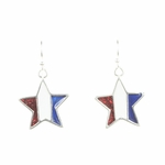 Earring Silver French Hook Red White and Blue Star