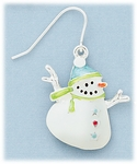 Earring Silver French Hook Snowman Blue and Green Hat and Scarf