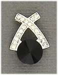 Earring Silver Posted Crystal with Jet Crystal X